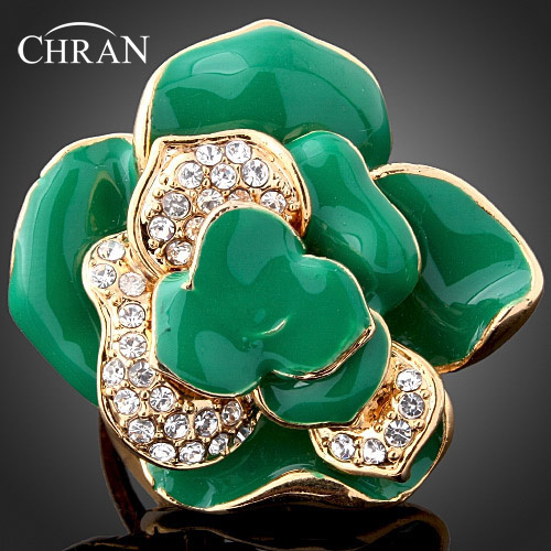 Free Shipping Austrian Crystal 18 K Gold Plated Rings Jewelry Elegant Gifts Fashion Enamel Green Flower Finger Rings For Women
