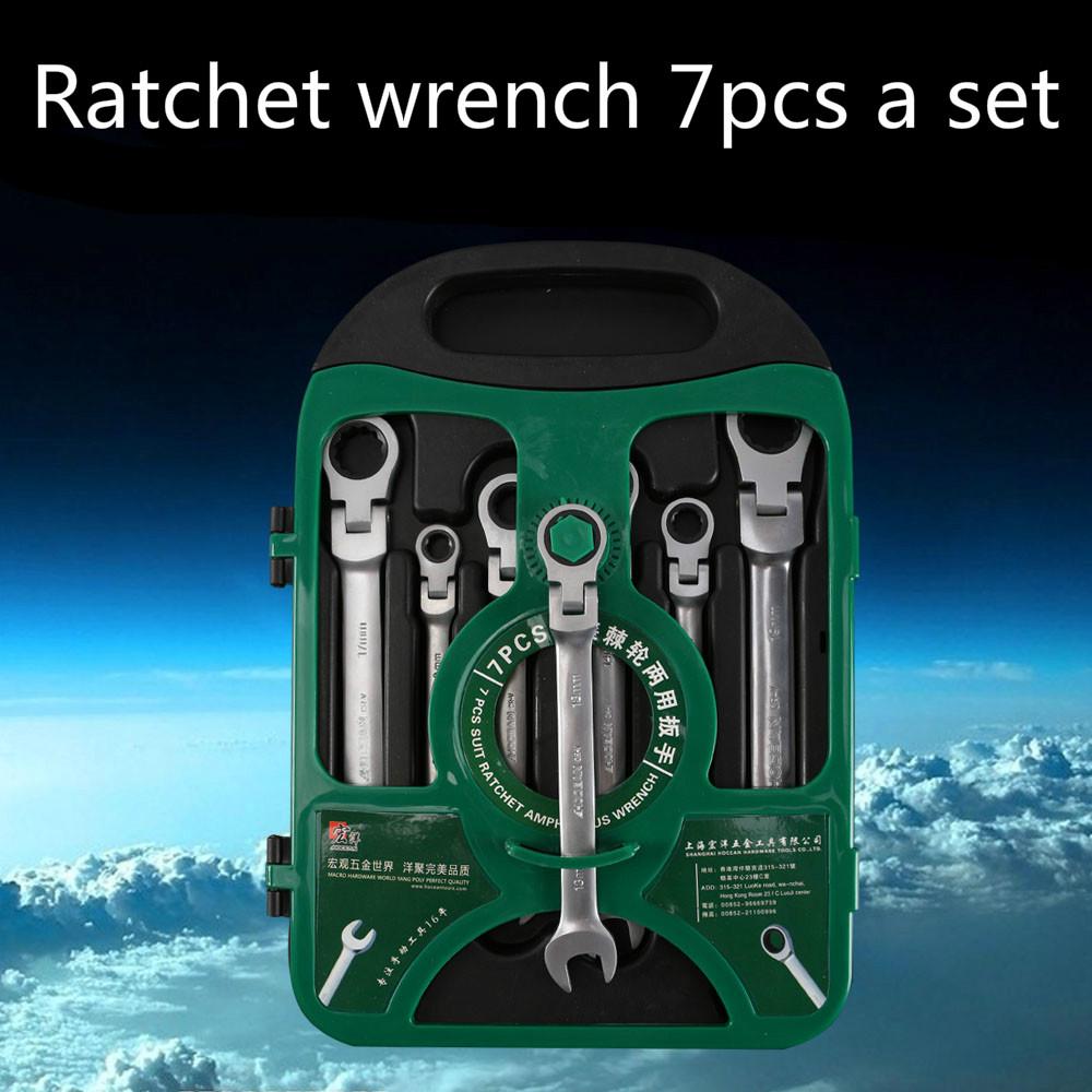 7PCS/set Chrome Vanadium Steel flexible ratchet wrench set spanner set CRV  Movable Plum Fast Dual Steering Tooth Steel tool