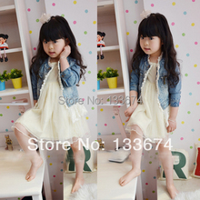 Freeshipping Baby Girls Kids Lace Cowboy Jackets Denim Top Button Outerwear Outfits Jean Coat 2 7T