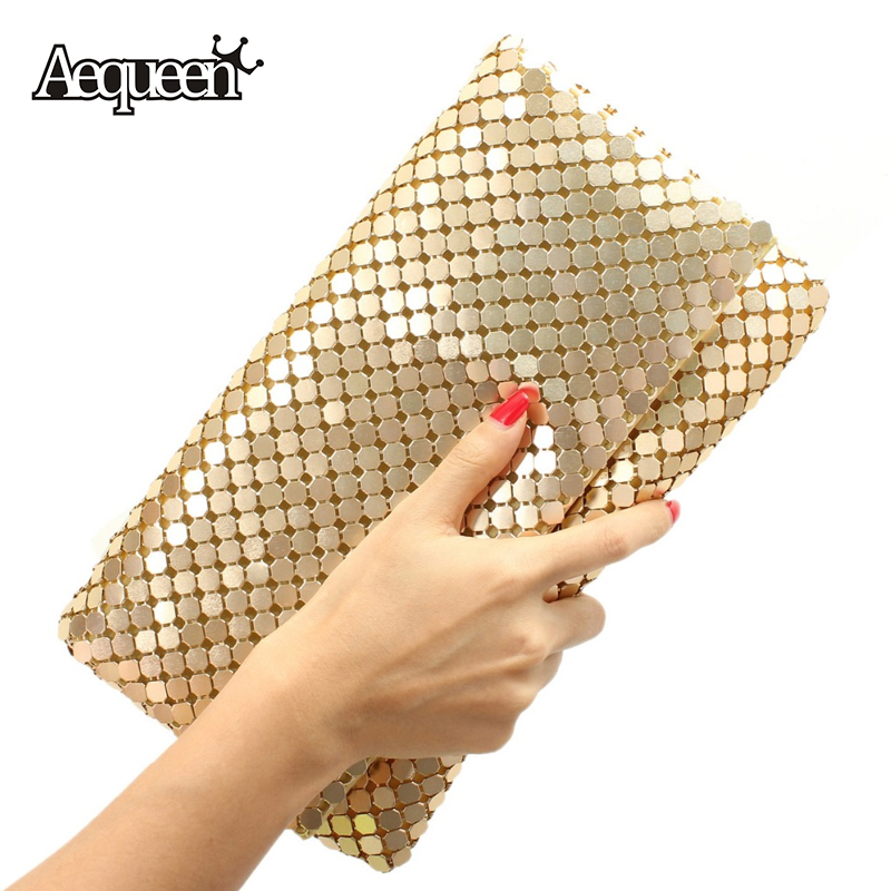New 12 Colors Women Evening Bag Day Clutches Aluminum Mesh Envelope Flap Bags Sequined Long Chain Handbags Korean Fashion(China (Mainland))