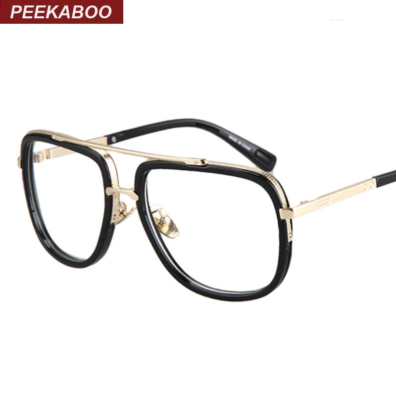 Gold metal eye glasses frames for men brand flat top big black square frame glasses optical male female unisex gafas hombre(China (Mainland))