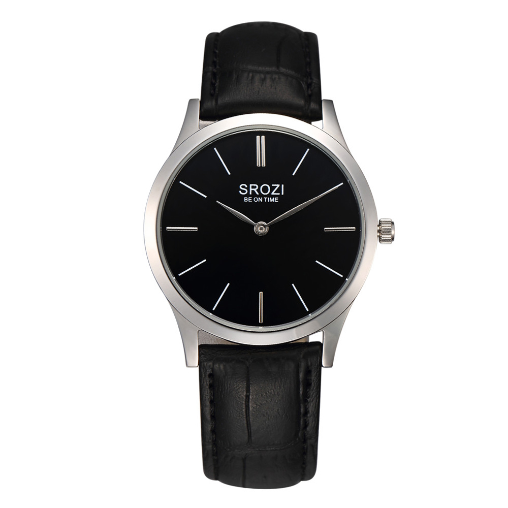 SROZI 5.8mm Classic Men and Women Couple Watches Slim Clean Black Dial Design Brand Business Watch Thin Quartz Waterproof Gift<br><br>Aliexpress