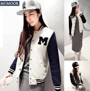 2015 New Brand Spring Sports Base Ball Jackets Women O-neck Casual Spliced Casaco Feminino Women Outerwear & Coats Slim Jackets(China (Mainland))