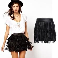 New Women Short Skirts Female High Waist Faux Leather Skirt Plus Size With Tassels S M L XL XXL Drop Shipping B2# 41