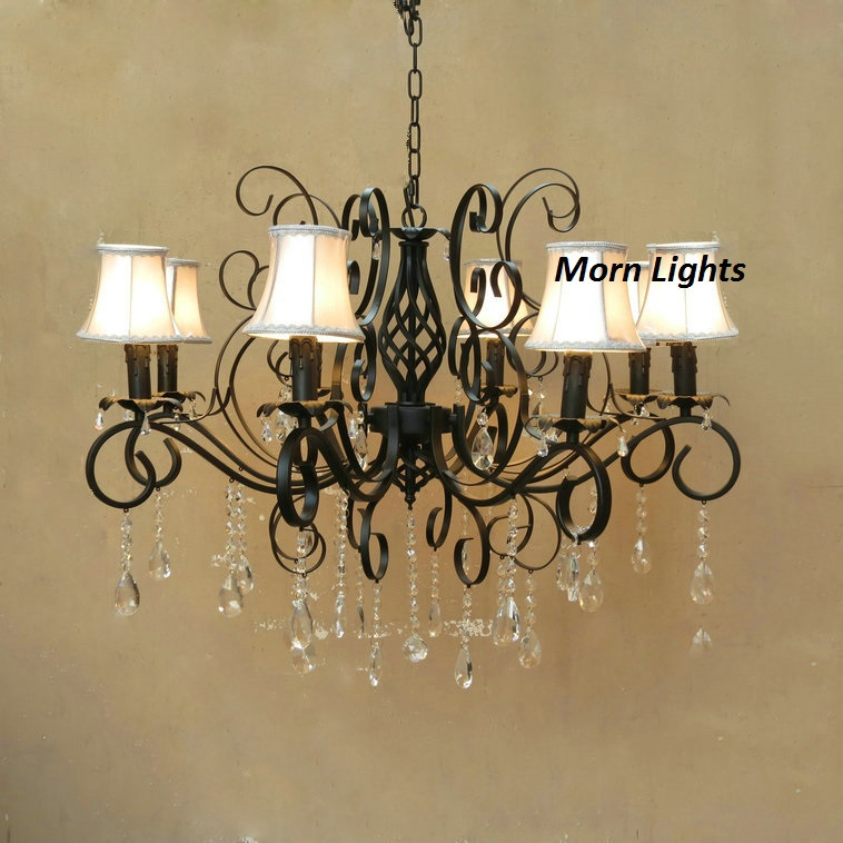 Antique Bronze Iron Chandelier light american wrought iron crystal lamps luxury lamp Black , Antique Bronze Iron Chandelier <br>