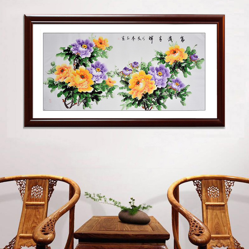 Chinese traditional peony flower painting hand-painted watercolor art decorative craft wall sticker scroll painting home mural(China (Mainland))