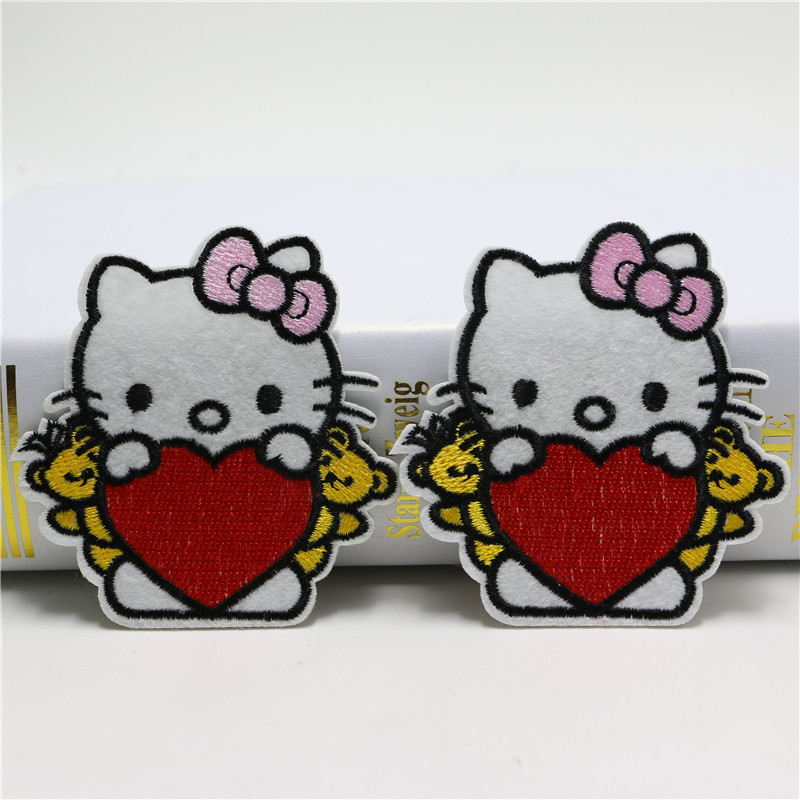 2pcs/lot hello kitty cartoon cute embroidered iron on/sew on patches kids clothing 7.8*7.5cm badge appliques DIY accessory B1106(China (Mainland))