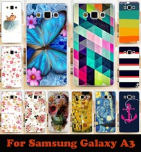 1PC/lot transparent sides mobile phone case hard Back cover Skin Shell for samsung Galaxy  A3 A300 A3000 A3009