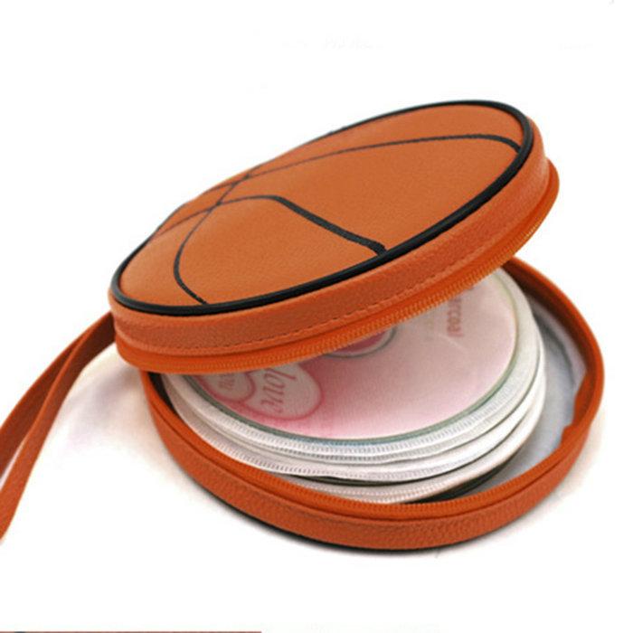 Orange Basketball Pattern Zippered Round Case 20 Pieces Capacity DVD CD Holder Bag On Sale(China (Mainland))