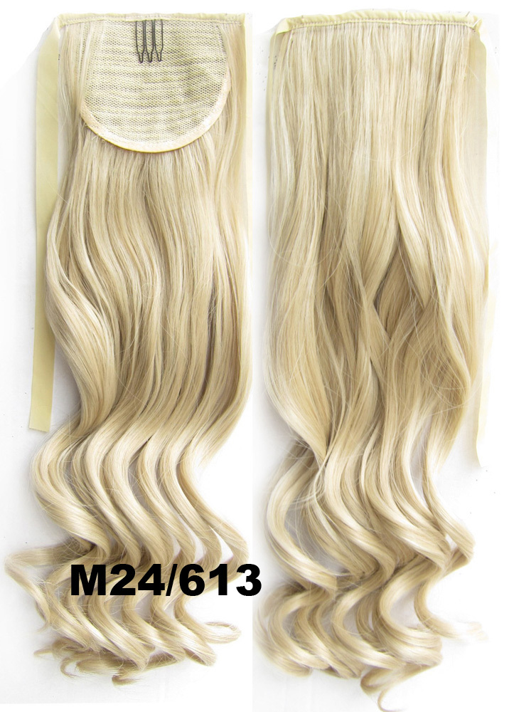 2015 Synthetic Hairpieces Curly Clip In Hair Extensions Ribbon For Ponytail Drawstring Tail M24/613 Pale Golden Blonde/bleach(China (Mainland))
