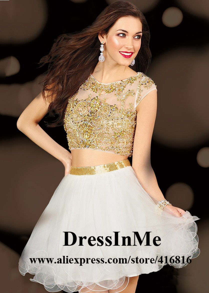 Gold Cocktail Dresses with Sleeves Promotion-Shop for Promotional ...