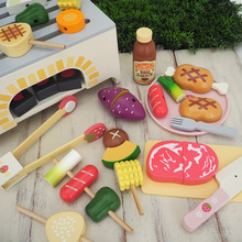 Barbecue Toys Set 1:2 Wood Plaything 38pcs Child play house Outdoor BBQ stall Cooking pretend Kitchenware Water paint Smooth 3C(China (Mainland))