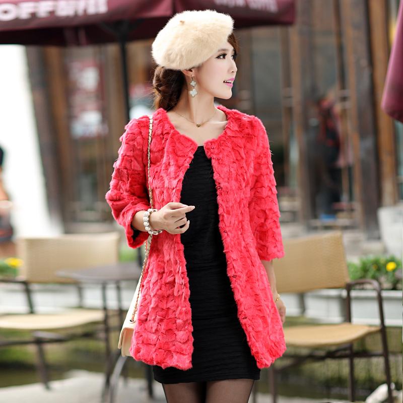 2013 mink overcoat long patchwork women genuine mink fur coat(China (Mainland))