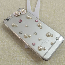 2015 Pure manual Flower Luxury PVC Bling Rhinestone bags Sparkly mobile phone Case for iphone4 4s