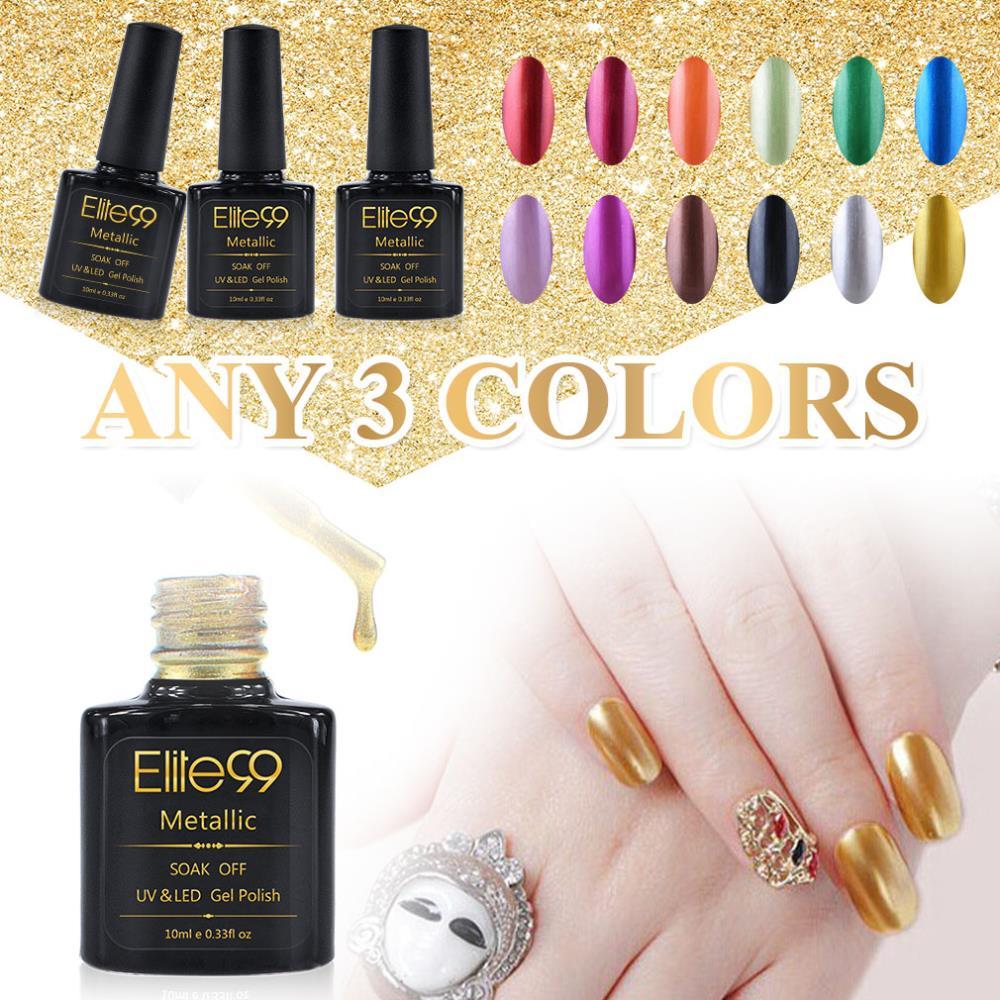 Elite99 Metallic Color Fashionable UV Gel Nail Polish Soak Off Choose 3 Colors Top Base Coat Reinforce Gel Free Deliver(China (Mainland))