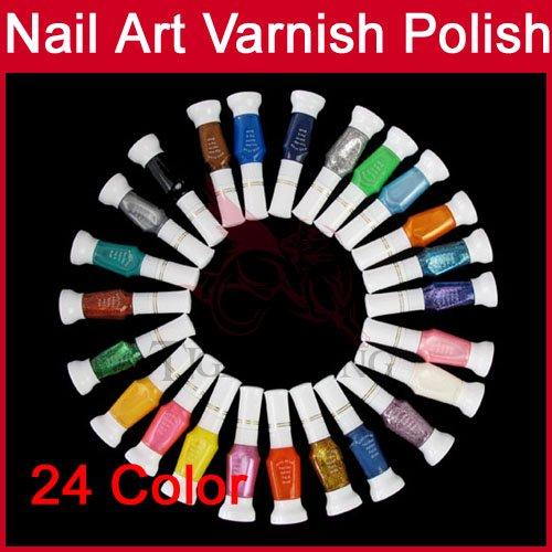 24 Glitter Color Nail Art 2 way pen brush varnish polish Paint Tips Makeup Cosmetic Make Up Tools Set 1694(China (Mainland))