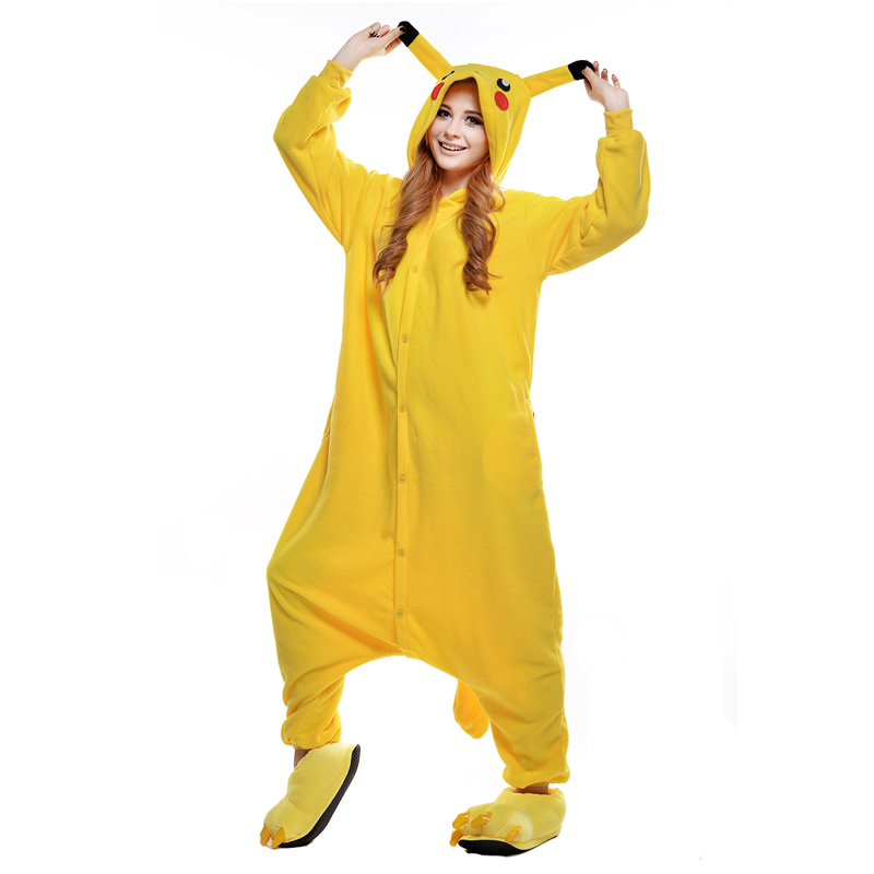 Newcosplay Anime Cosplay Minion Costume Unisex Cartoon Pajamas Pikachu Onesie(China (Mainland))