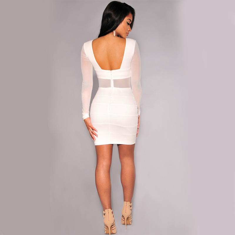 XS XXL Sexy Bandage Dress Backless Winter Black White Dress Long Sleeve Mesh Patchwork Hollow Out