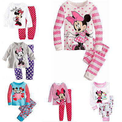 2016 Minnie Cartoon Mouse Baby Toddlers Kids font b Girls b font Polka Dots Stripe Nightwear