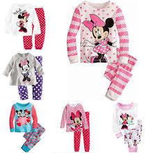 2016 Minnie Cartoon Mouse Baby Toddlers Kids Girls Polka Dots Stripe Nightwear Pajamas Set Sleepwear Homewear Clothing Suit 1-8Y