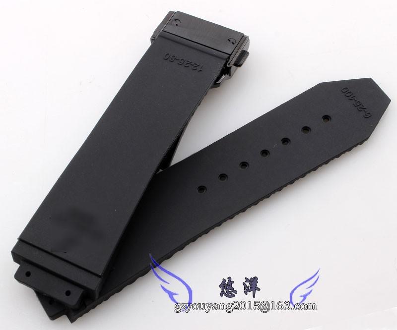 Новый 26 мм людей высшего ранга черный водонепроницаемый дайвинг силиконовая резина часы ремень Blackbuckle матовая сталь развертывания застежка