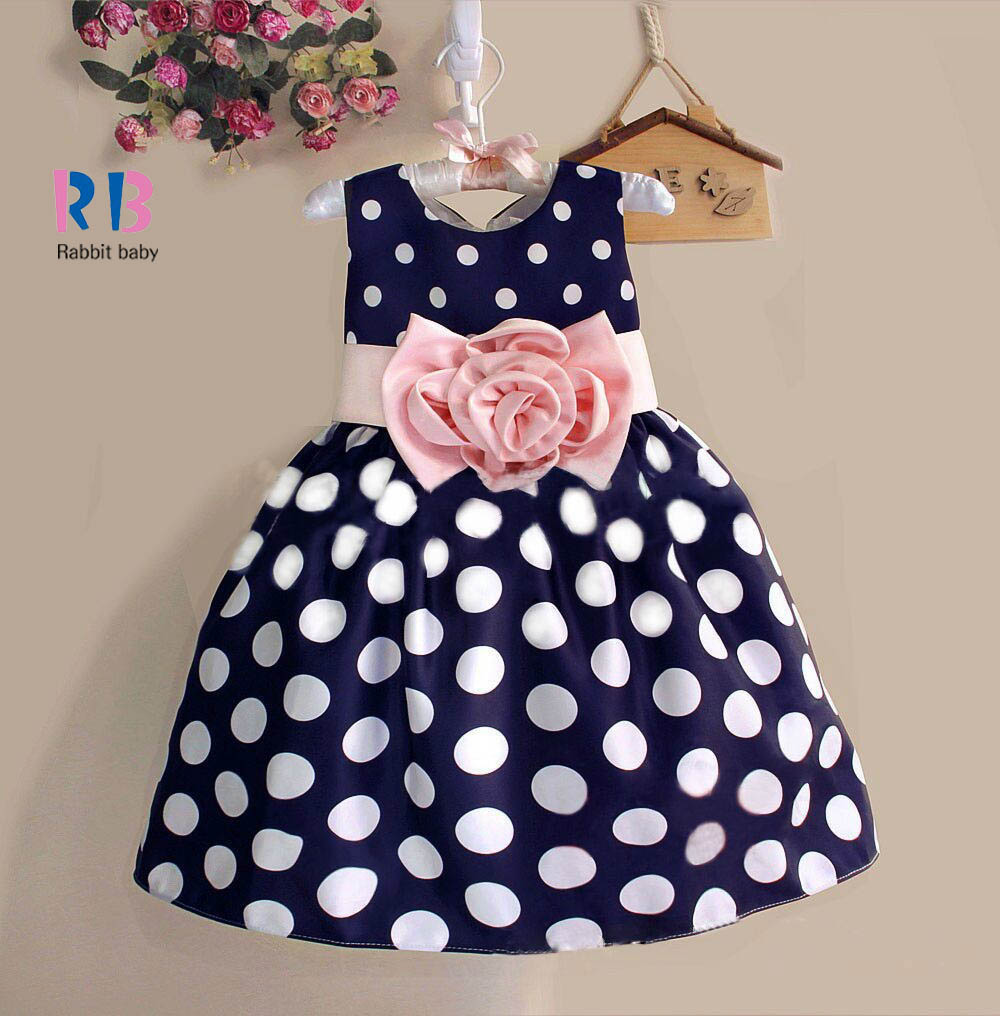 2015 New Stylish Kids Toddler Girls Princess Dress Sleeveless Polka Dots Bowknot Dress! 2 color Top quality navy blue white(China (Mainland))