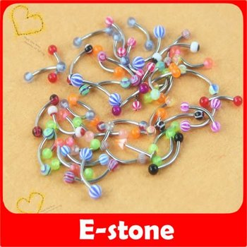 D19+Free Shipping 100pcs/lot mix MultiColor UV Ball Barbell Eyebrow Rings Studs Stainless Steel