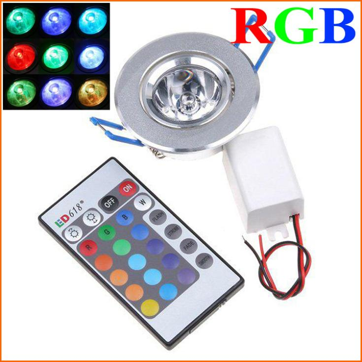 5PCS High Brightness 3W 1-LED RGB led Downlight Ceilinglight downLamp Spot light Remote Control ceiling lamp Lighting(China (Mainland))