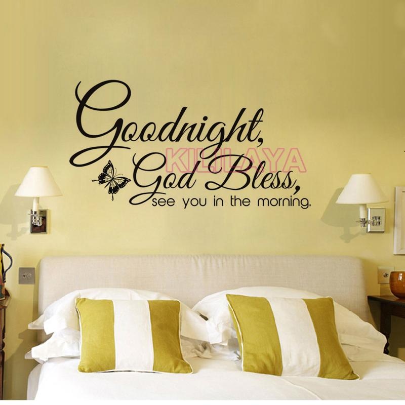 Christian Goodnight God Bless Religiöse Vinyl Wandaufkleber Wandtattoos  Wandkunst für Wohnzimmer Wohnkultur Haus Dekoration(China
