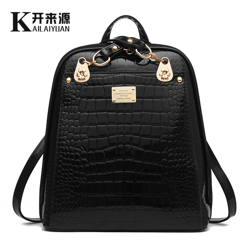 100% Genuine leather Women Backpack 2016 New Fashionista backpack new students are bright leather backpack(China (Mainland))