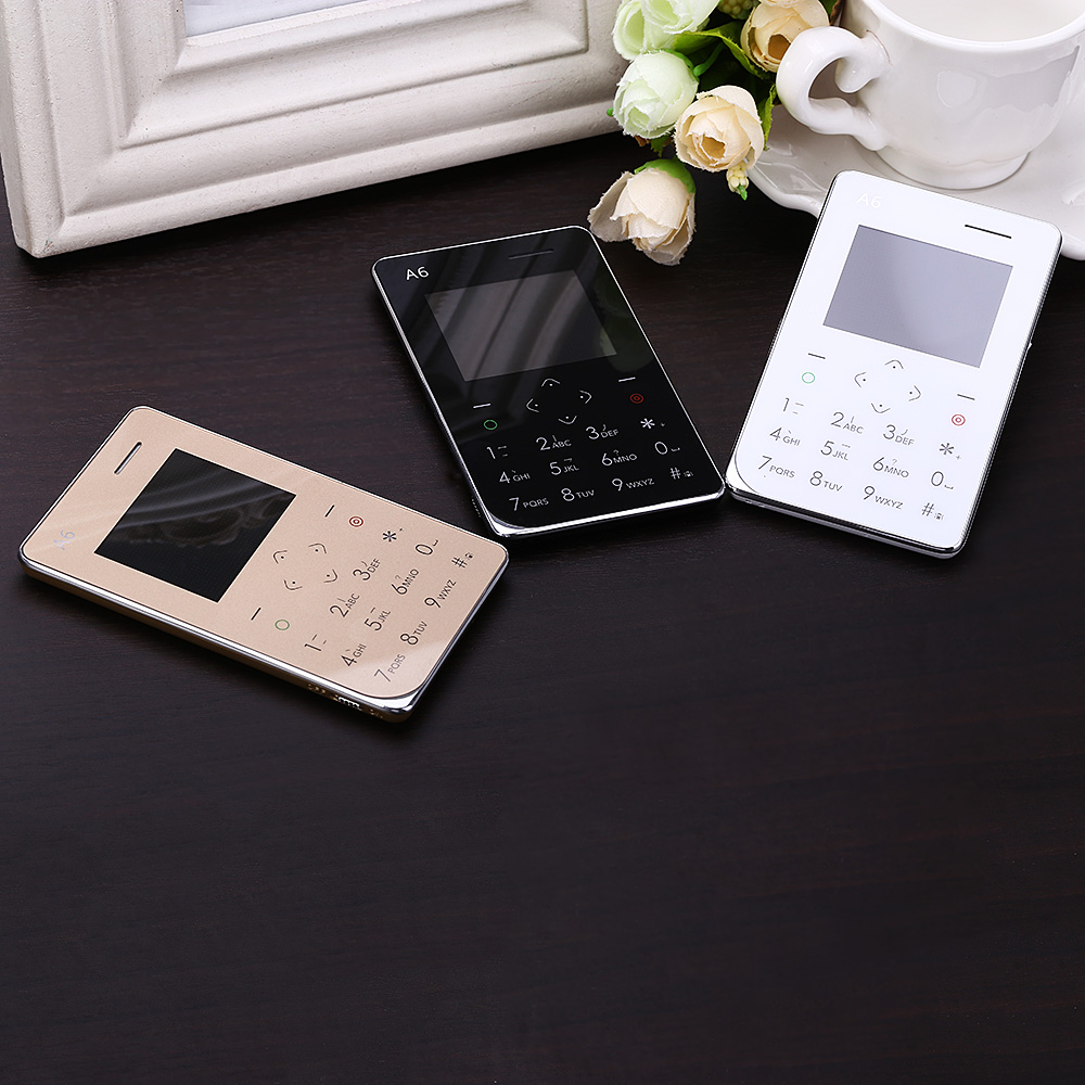 AIEK A6 1.77'' Quad Band Ultra Thin Card Pocket Mini Cell Mobile Phone Bluetooth 3.0 Pedometer FM Audio Player Small Bar phone(China (Mainland))