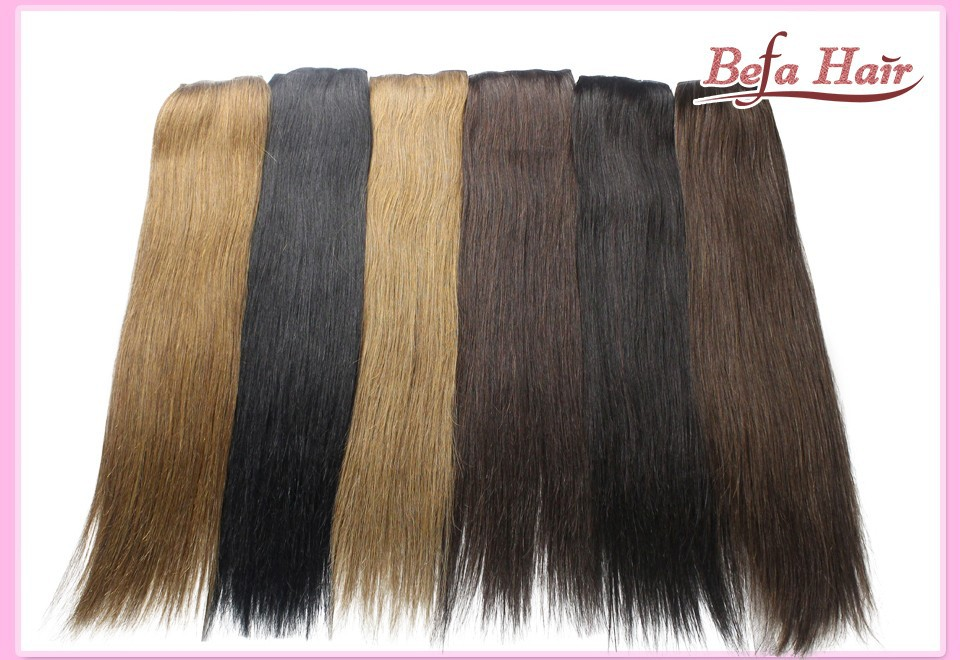 Free shipping straight one piece clip in human hair extensions 20-24Inches 100g human Hair Long Straight