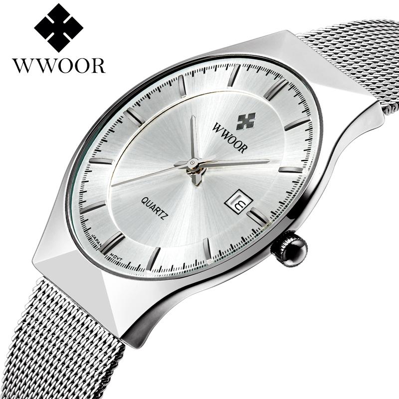 relogio masculino WWOOR Mens Watches Top Brand Luxury Business Casual Men Ultra Thin Wristwatch Stainless Steel Quartz Watch(China (Mainland))