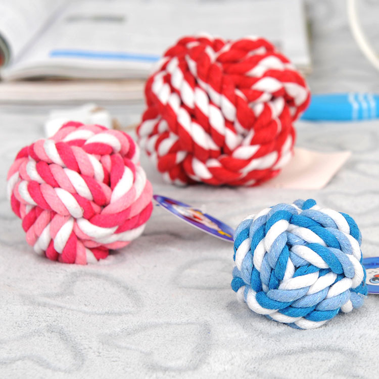 3 Size Rainbow Color Cotton Rope Ball Dog Toys Pet Supplies Puppy Product Pet Bite Ball Chew Toy For Small Big Dogs jouet chien(China (Mainland))