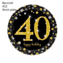 18/30/40/50/60 anos de idade louça descartável copo de papel confetes balão plástico espiral jóias para diy festa de aniversário decoratio(China)