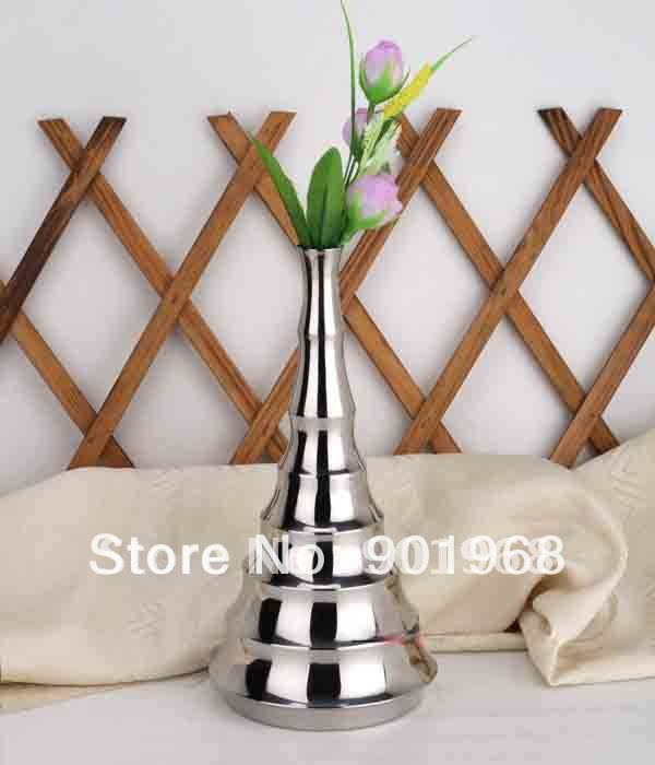 2 pcs lote table place en acier inoxydable bambou style pot de fleur vase de fleurs jardini re. Black Bedroom Furniture Sets. Home Design Ideas