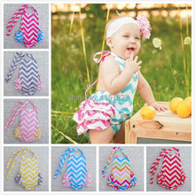Ruffled Baby Girl Sunsuit Romper Toddler Baby Girls Clothing Set Cut Kids Jumpsuit Cotton Chevron Bubble Rompers Free Shipping(China (Mainland))