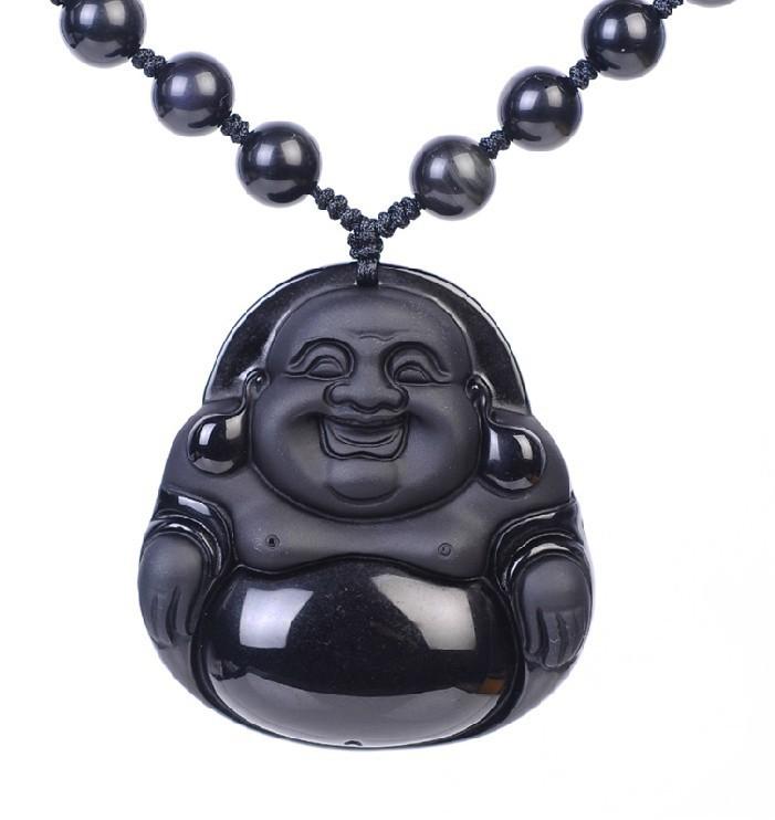 New Arrival Women Solitaire Semi-precious Stone Classic Figure Pendants Natural Obsidian Buddha Pendant Necklace Wholesale(China (Mainland))