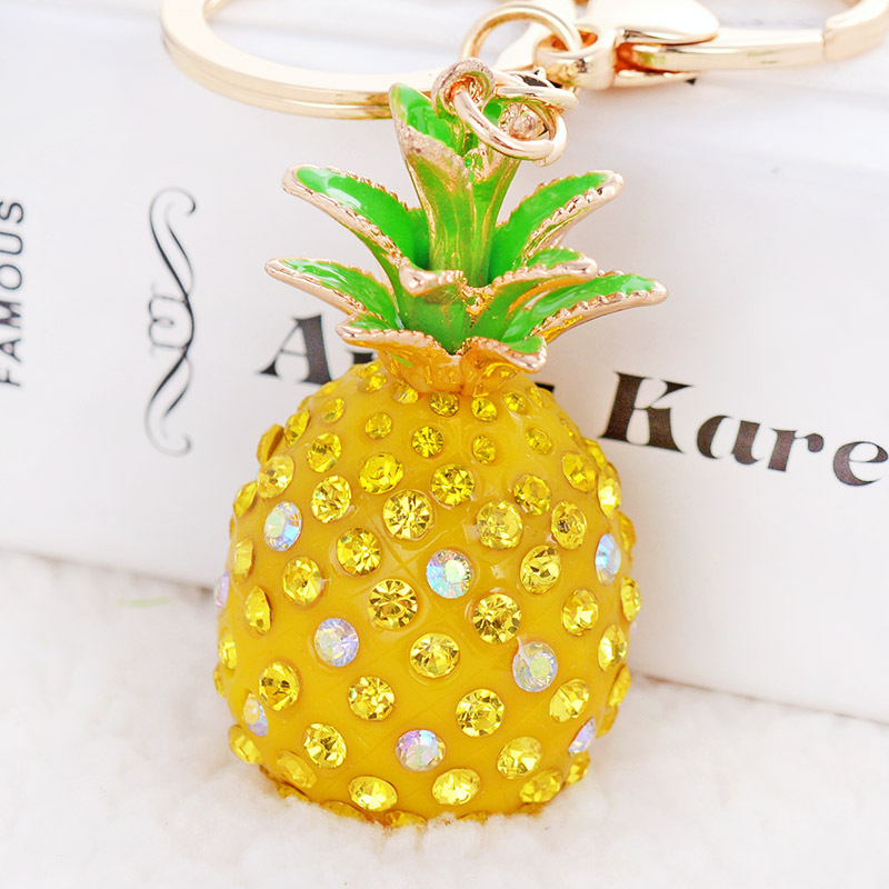 Yellow pineapple fruit Crystal KeyChain Purse Bag Rhinestone Key Chain YSK179<br><br>Aliexpress