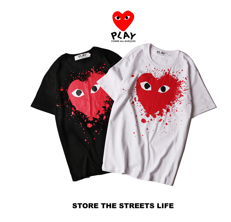 Red Heart couple t-shirt CDG PLAY T shirt brand clothing heart casual shirt Comme Des Garcons PLAY t shirt heart tee Men L046(China (Mainland))