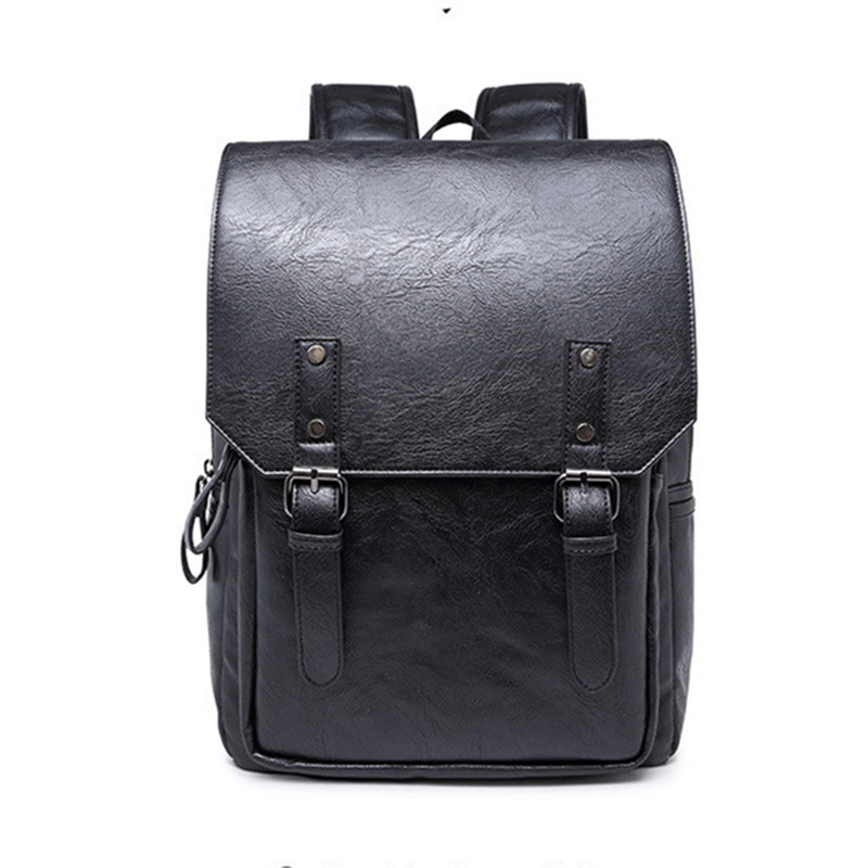 New Students Daily Backpack balck Vintage double traps Laptop Shoulder bag leather Brand Tide Korean style Travel Bags<br><br>Aliexpress