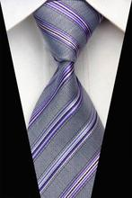 NT0617 Gray Purple Stripes Woven Mens Necktie New Silk Polyester Business Casual Wedding Fashion Knitted Ties