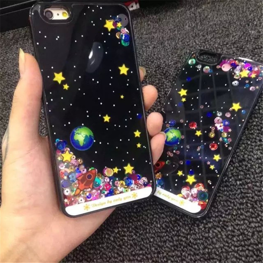 2016 Hot! New Small universe flows planet protective sleeve Star quicksand hard shell phone Case Cover For iphone5 5s/6 6s/6Plus(China (Mainland))