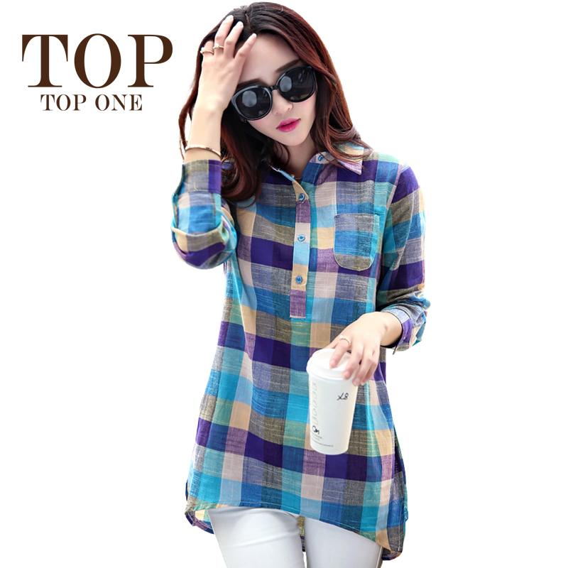 Plus Size Plaid Shirt Women 2015 Autumn Korean Style New