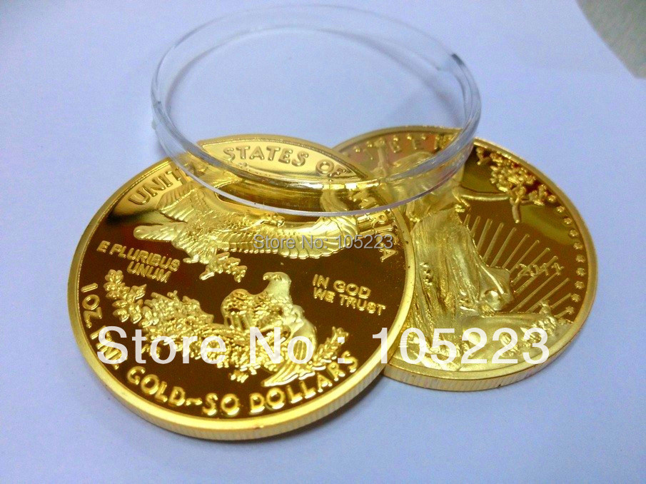 20pcs/lot free shipping 1 Oz Gold Plated American Liberty Eagle Coin Bullion 2011 year,No Copy!(China (Mainland))