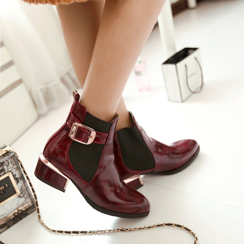 Sequins Patent Leather Ankle Boots Women Shoes 2015 Autumn Winter Casual Boots Thick Wth Martin Boots Big Size 33-42 Women Boots