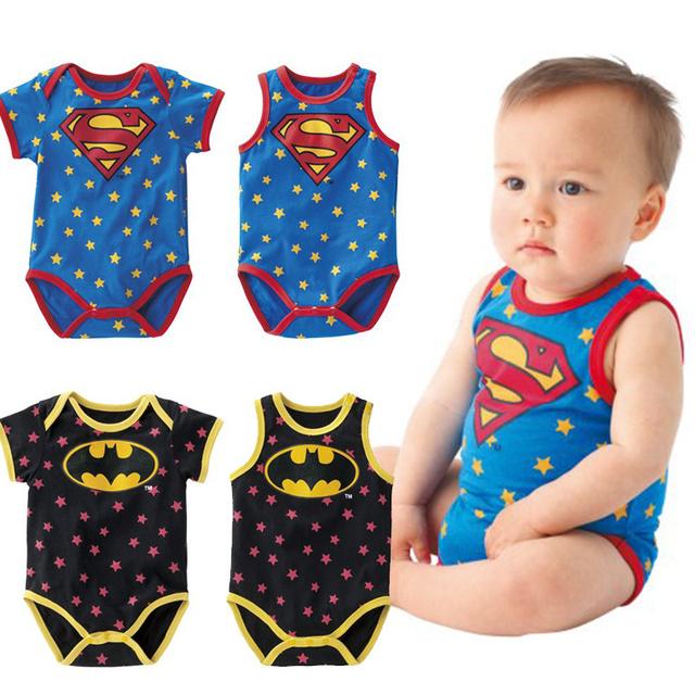 Лето одежда для младенцев мальчики девочки детей-паук супермен 100% хлопок младенческой новорожденных один один-шт боди