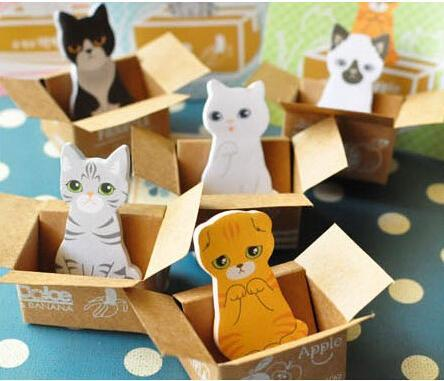 Wholesale,(1 Lot=20 Sets) DIY Scrapbooking Paper Cute Cat Stickers kawaii Dog Notepads Diary Memo Pads Sticky Notes Set(China (Mainland))