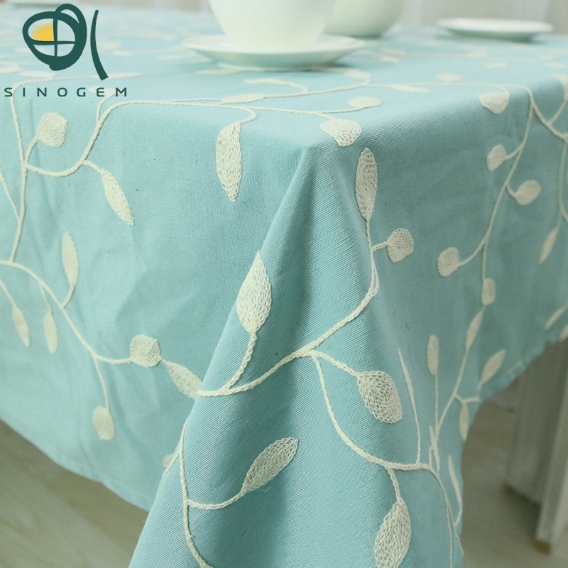 New arrive Readymade Korean Countryside Polyester&Cotton Embroidered Leaves Design tablecloth can be customized table cloth(China (Mainland))