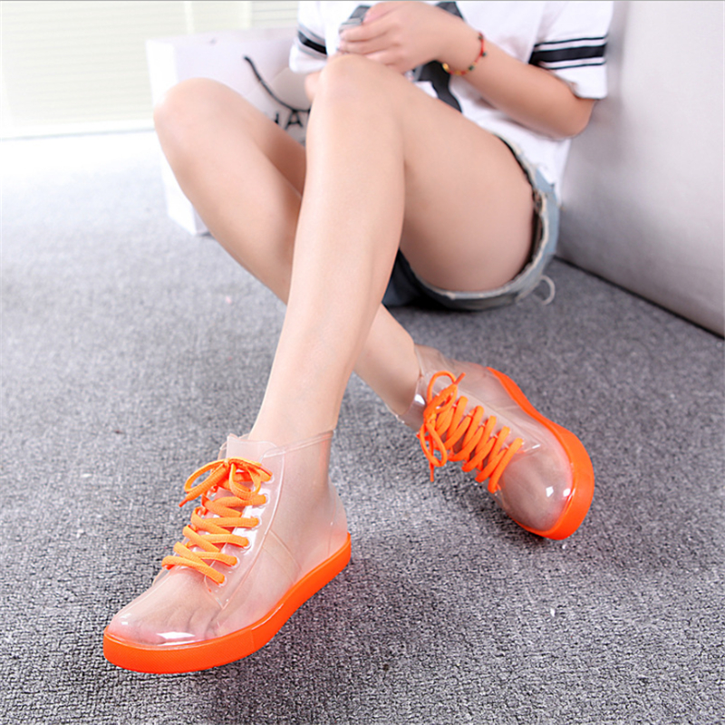 Rain boots, women with short boots, the new 2016 transparent waterproof boots, ms antiskid rubber boots(China (Mainland))